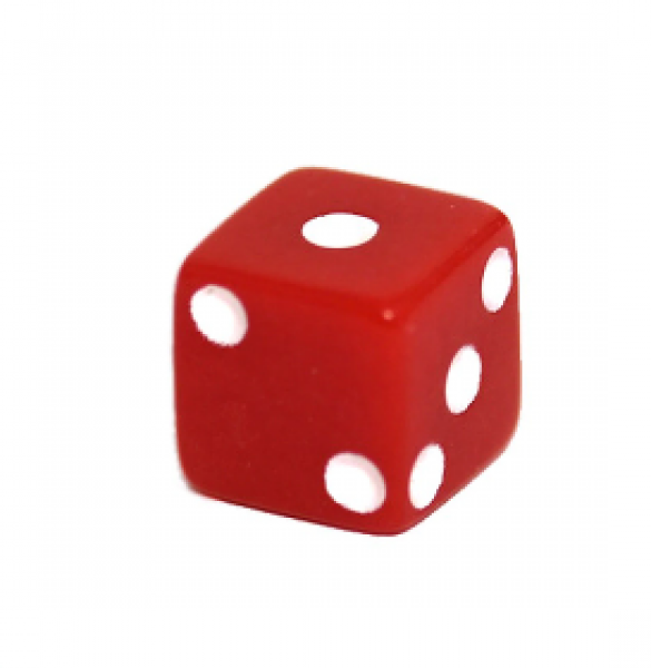 Miniature Dice: Red/White Opaque 8mm Pipped d6 (1)