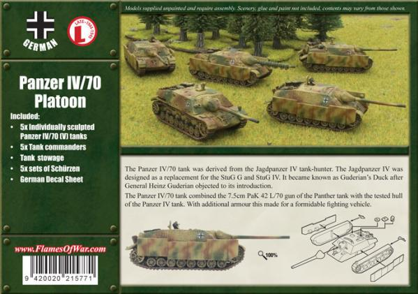 Flames Of War (WWII): (German) Panzer IV/70 (V) Platoon