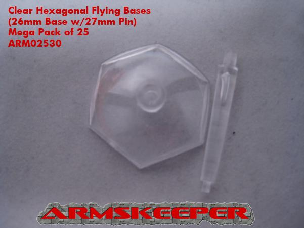 ArmsKeeper Bases: Clear Hexagonal Flying Bases (26mm Base with 27mm Pin) Mega Pack (25)