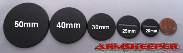 ArmsKeeper Bases: Black Hexagonal Flying Bases (26mm Base with 27mm Pin) Mega Pack (25)