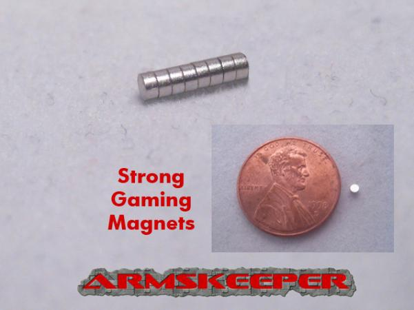 ArmsKeeper Magnets: Strong Gaming Magnets (Small - 1/16''dia x 1/32'') [Pack of 8]