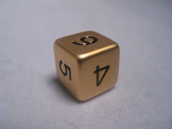 Dwarven Metal Dice - Brushed Brass 12mm d6 (1 Numbered die)