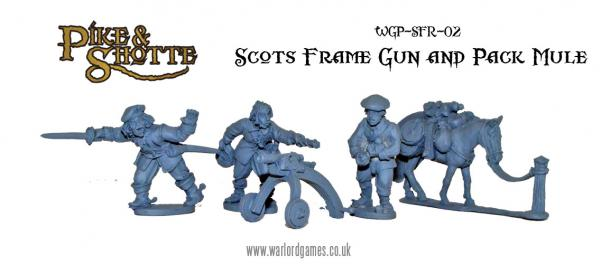 28mm Pike & Shotte - Scottish Frame Gun and Pack Mule