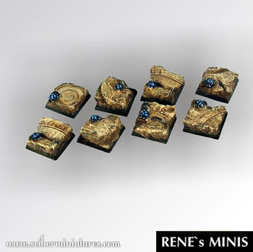 Square Bases: Egyptian Ruins Square Bases 20mm (5)