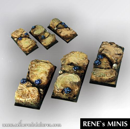 Square Bases: Egyptian Ruins Square Bases 50mm / 25mm (2)