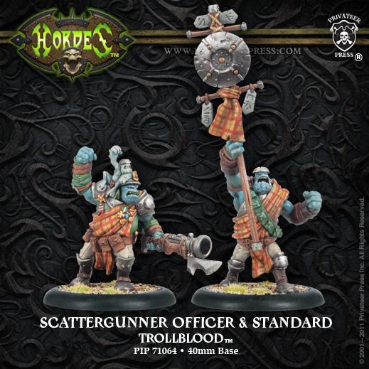 Hordes: (Trollbloods) Trollkin Scattergun Officer & Standard