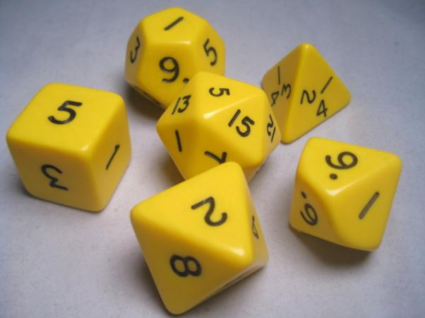Jumbo RPG Dice Sets: Yellow/Black Opaque Polyhedral 6-Die Set