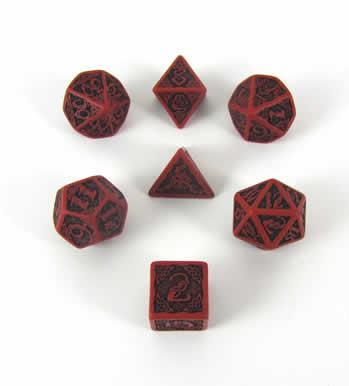 Celtic Dice: Red & Black Celtic 3D Revised Dice Set (7)