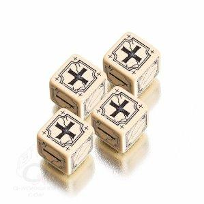 Fudge Dice: Beige & Black Antique Fudge Dice (4)