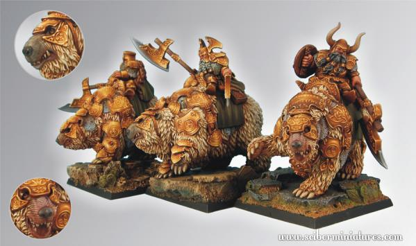 28mm Fantasy Miniatures: War Bears Warriors set (3)