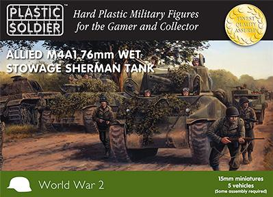 15mm WWII (American): Easy Assembly Sherman M4A1 76mm Wet Tank