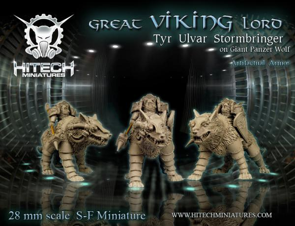 (Viking) Great Lord Tyr Ulvar Stormbringer w/Giant Panzer Wolf