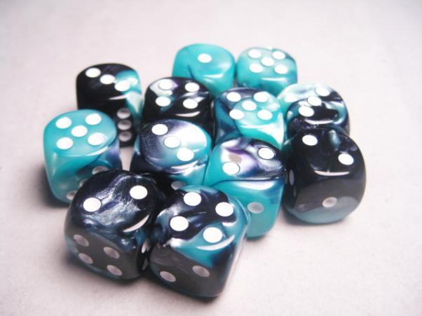 Chessex Dice Sets: Gemini # 5 16mm d6 Black-Shell/White (12)