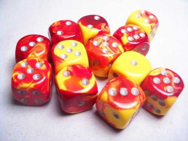 Chessex Dice Sets: Gemini # 5 16mm d6 Red-Yellow/Silver (12)