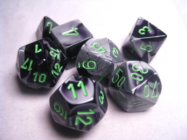 Chessex RPG Dice Sets: Gemini #5 Black-Grey/Green Polyhedral 7-Die Set
