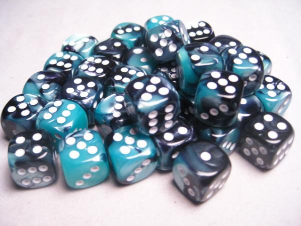 Chessex Dice Sets: Gemini # 5 12mm d6 Black-Shell/White (36)