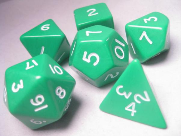 Jumbo RPG Dice Sets: Green/White Opaque Polyhedral 6-Die Set