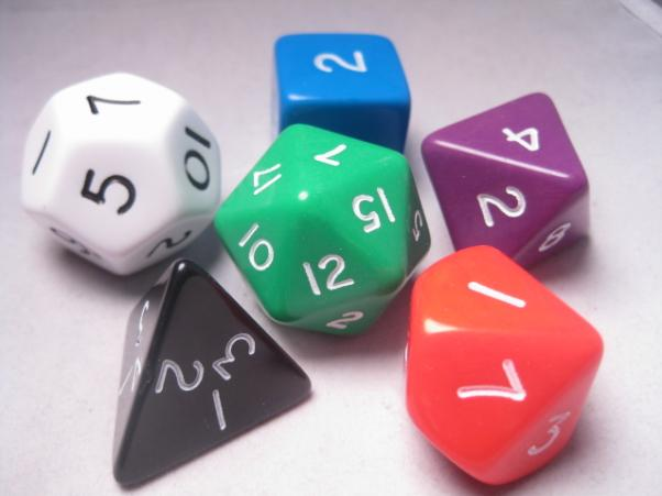 Jumbo RPG Dice Sets: Assorted Opaque Polyhedral 6-Die Set