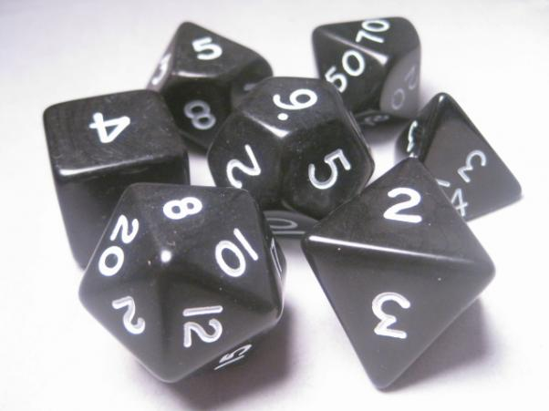 Jumbo RPG Dice Sets: Black/White Opaque Polyhedral 7-Die Set