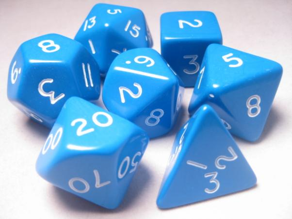 Jumbo RPG Dice Sets: Blue/White Opaque Polyhedral 7-Die Set