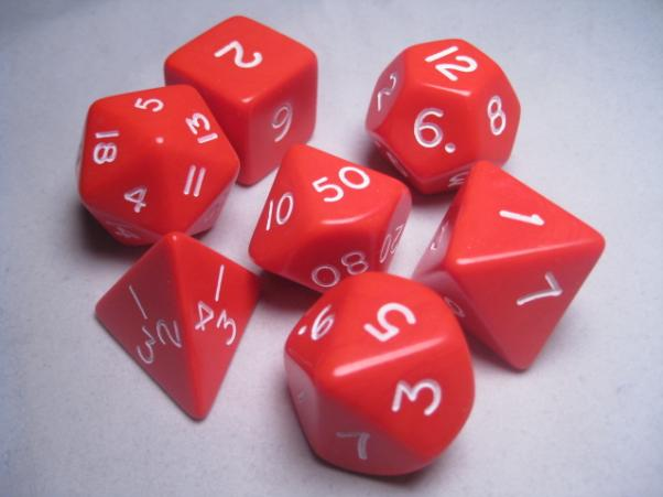 Jumbo RPG Dice Sets: Red/White Opaque Polyhedral 7-Die Set