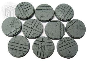 Scenic Bases: 25mm Ruined Temple, Beveled Edge (10)