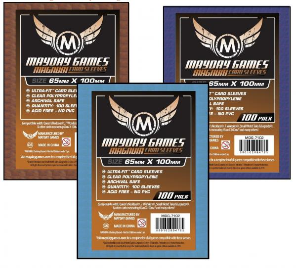 Blue Backed Magnum Ultra-Fit Copper Sleeves: 65 MM X 100 MM (100 Sleeves for 7 Wonders)