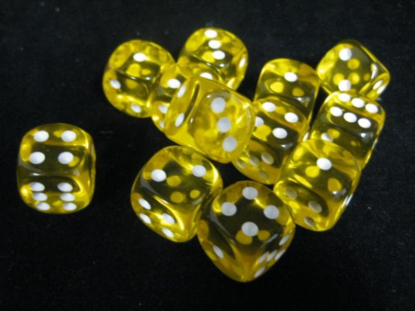 Chessex Dice Sets: Yellow/White Translucent 16mm d6 (12)