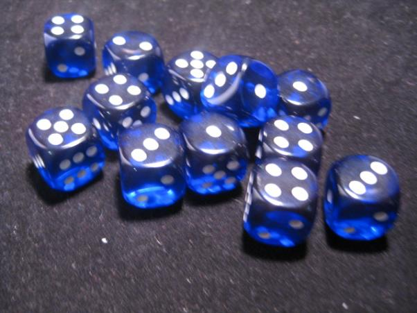 Chessex Dice Sets: Blue/White Translucent 16mm d6 (12)