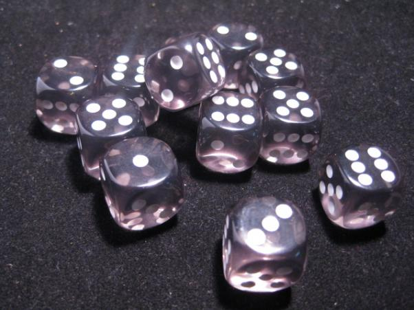 Chessex Dice Sets: Smoke/White Translucent 16mm d6 (12)
