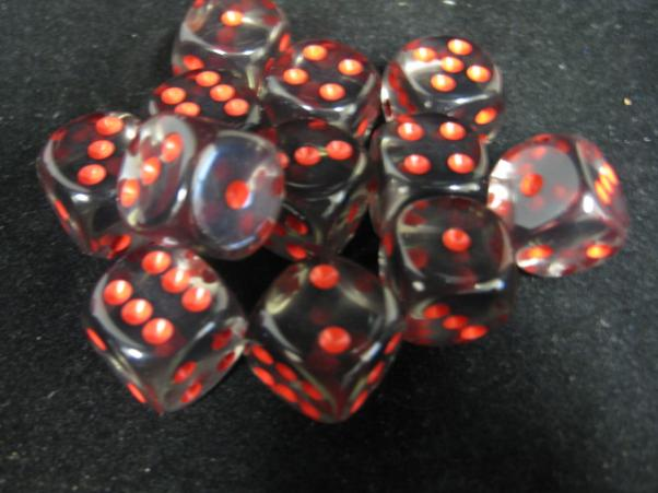 Chessex Dice Sets: Smoke/Red Translucent 16mm d6 (12)