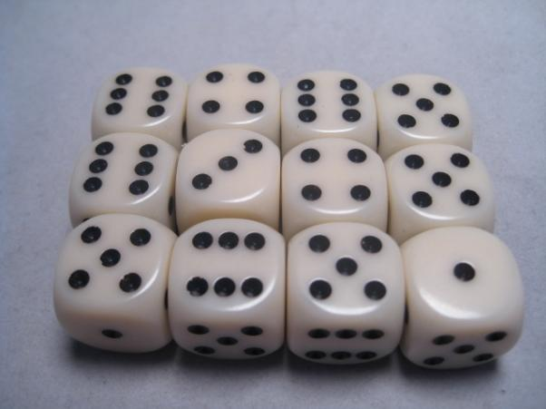 Chessex Dice Sets: Ivory/Black Opaque 16mm d6 (12)