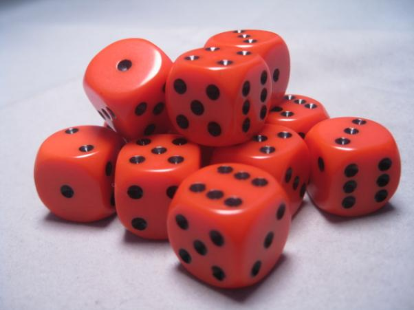 Chessex Dice Sets: Orange/Black Opaque 16mm d6 (12)