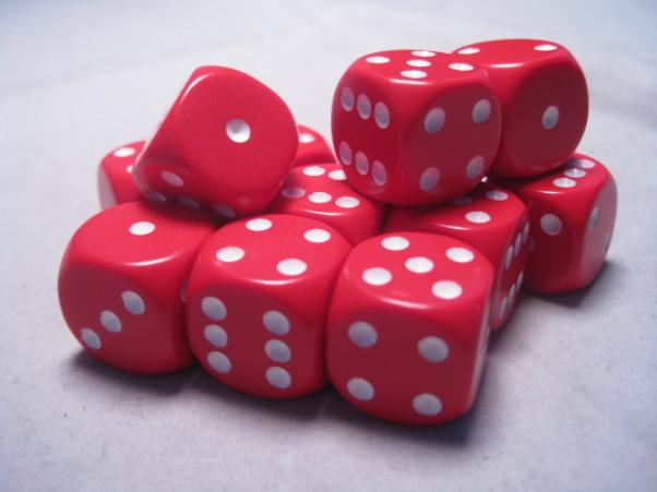 Chessex Dice Sets: Red/White Opaque 16mm d6 (12)