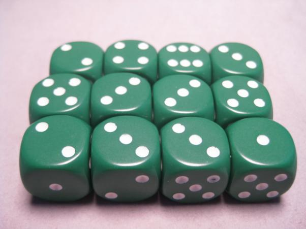 Chessex Dice Sets: Green/White Opaque 16mm d6 (12)