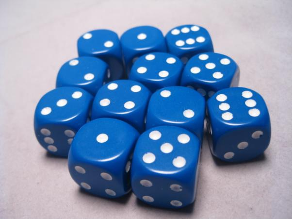 Chessex Dice Sets: Blue/White Opaque 16mm d6 (12)