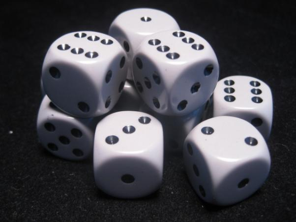 Chessex Dice Sets: Dark Grey/Black Opaque 16mm d6 (12)