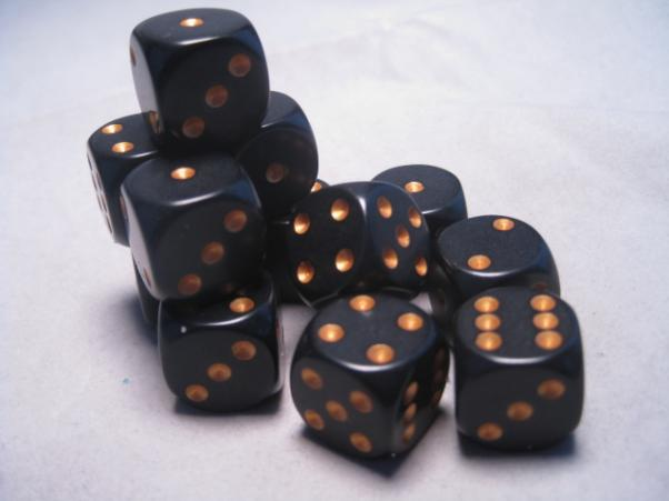 Chessex Dice Sets: Black/Gold Opaque 16mm d6 (12)