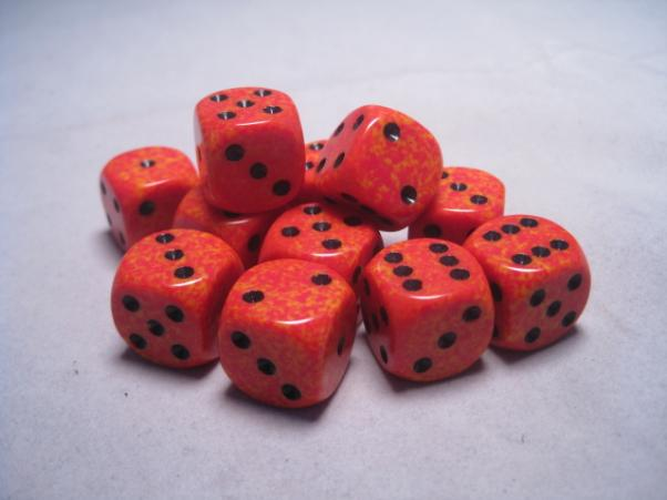 Chessex Dice Sets: Fire Speckled 16mm d6 (12)