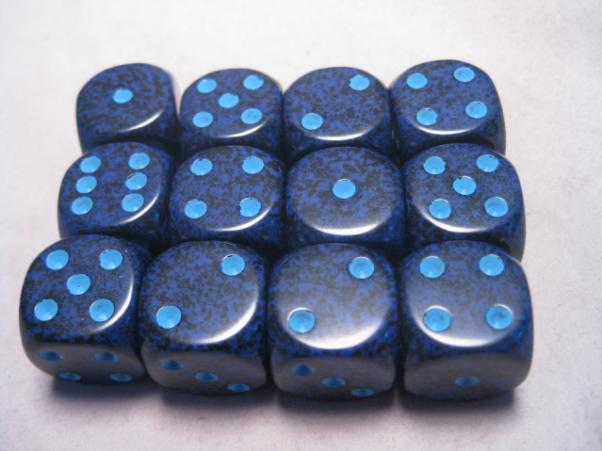 Chessex Dice Sets: Cobalt Speckled 16mm d6 (12)
