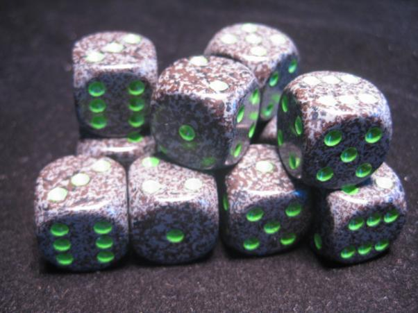 Chessex Dice Sets: Earth Speckled 16mm d6 (12)