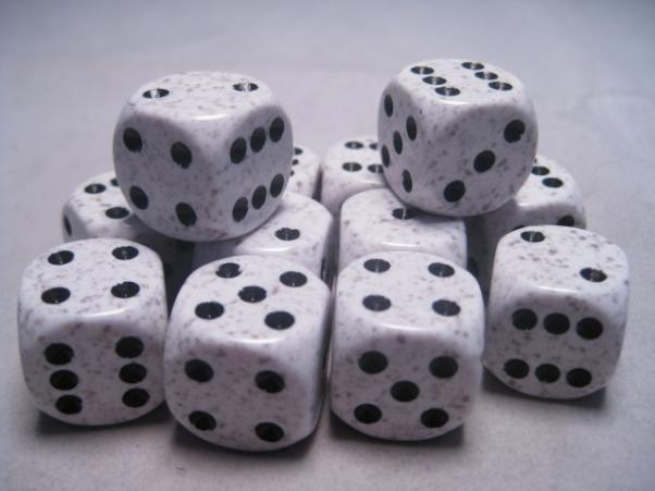 Chessex Dice Sets: Arctic Camo Speckled 16mm d6 (12)