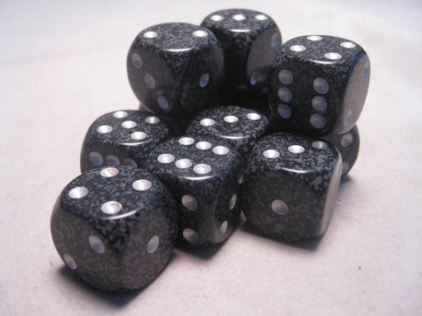 Chessex Dice Sets: Ninja Speckled 16mm d6 (12)