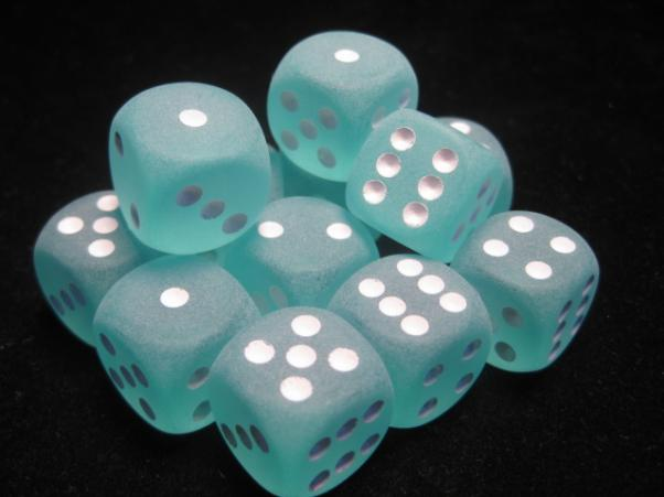 Chessex Dice Sets: Teal/White Frosted 16mm d6 (12)