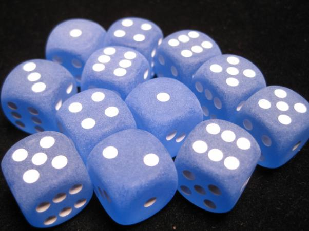 Chessex Dice Sets: Blue/White Frosted 16mm d6 (12)