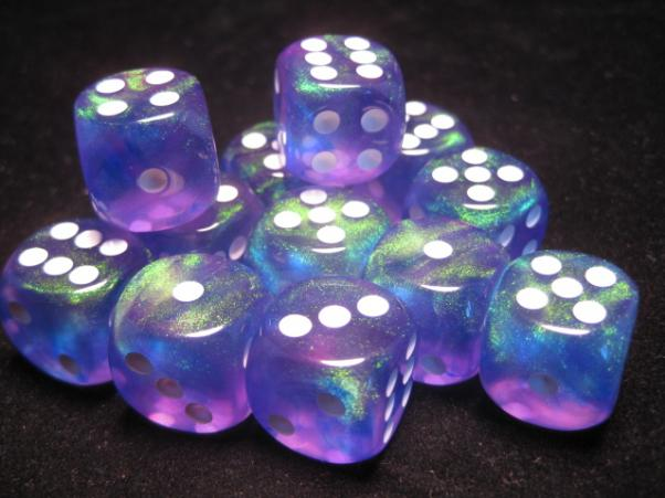 Chessex Dice Sets: Purple/White Borealis 16mm d6 (12)