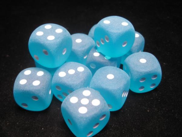 Chessex Dice Sets: Carribean Blue/White Frosted 16mm d6 (12)