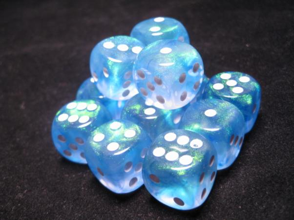Chessex Dice Sets: Sky Blue/White Borealis 16mm d6 (12)