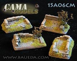 Cama Scenics (15mm WWII): HMG/Mortar Scenic Bases (Rural)