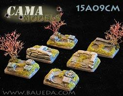 Cama Scenics (15mm WWII): Small Scenic Bases for 2 Figures (Rural)